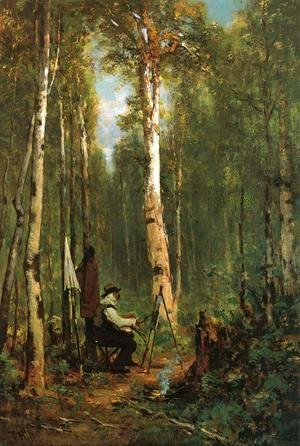 Thomas Hill - Artist at His Easel in the Woods
