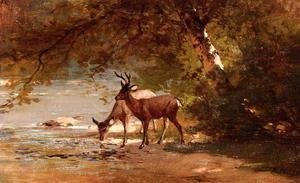 Thomas Hill - Deer in a Landscape