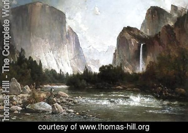 Thomas Hill - Piute Fishing on the Merced River, Yosemite Valley