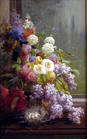 Thomas Hill - Still Life FLowers and Fruit