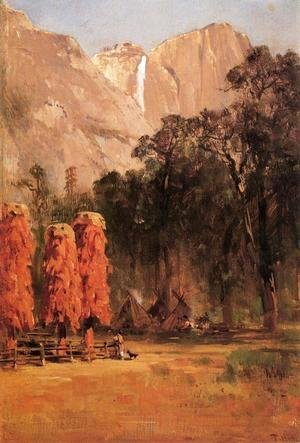 Thomas Hill - Acorn granaries, by Piute Indian camp in Yosemite