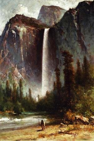 Thomas Hill - Ahwahneechee - Piute Indian at Bridal Veil Falls, Yosemite