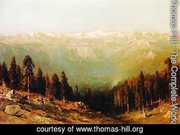 Thomas Hill - A View of the Hetch Hetchy Valley with Deer in the Foreground and Mount Conness in the Distance