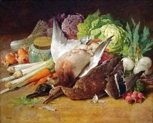 Thomas Hill - Still Life with Ducks and Vegetables
