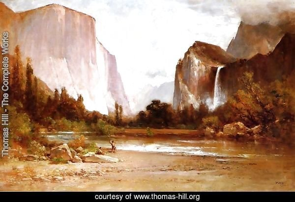 Thomas hill the complete works indians fishing in for Fishing in yosemite